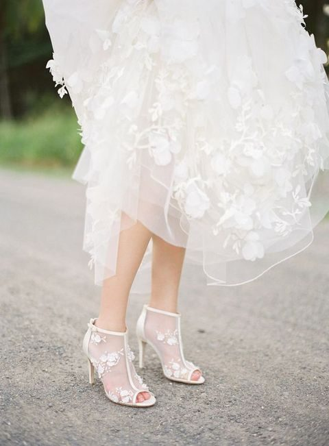 white peep toe sheer wedding booties with floral detailing