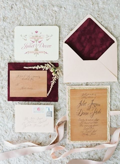 white, plum green and calligraphy wedding invites