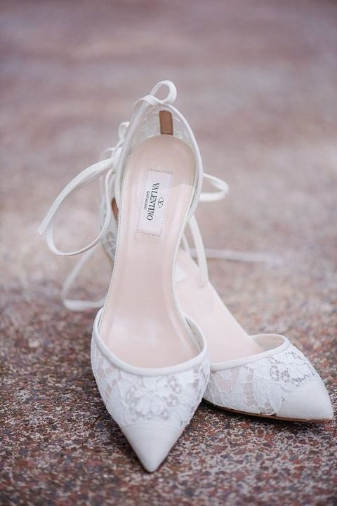 white pointed toe lace strappy wedding shoes
