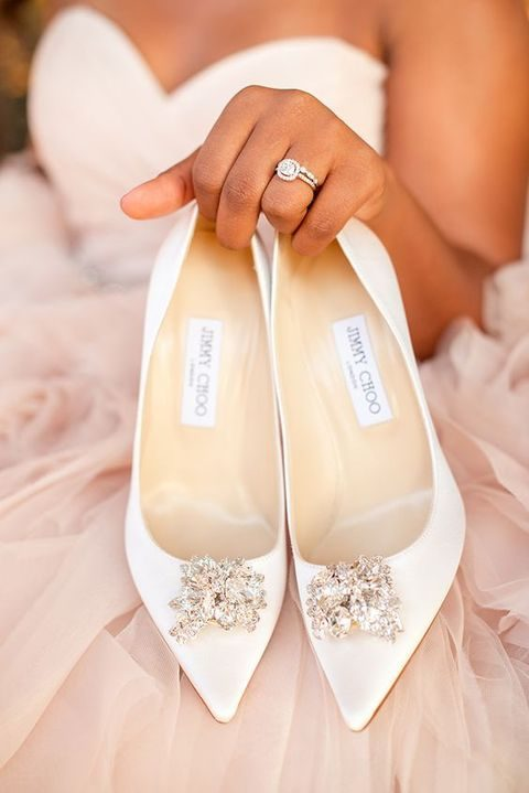 white pointed toe wedding shoes with crystals by Jimmy Choo