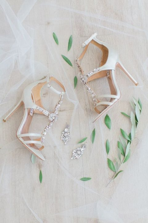 white strappy heels with crystals and beading