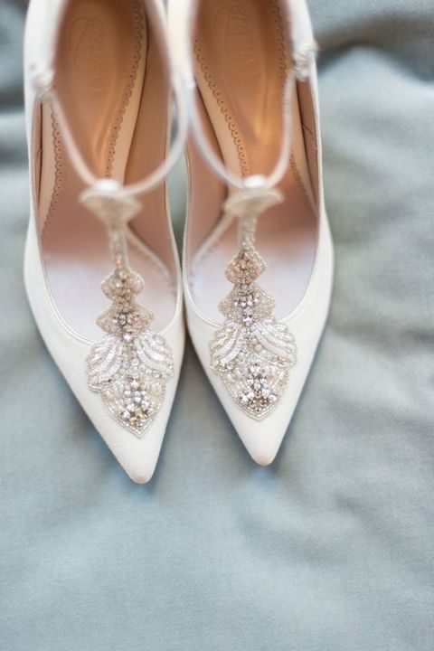 white vintage-inspired shoes with beading and crystals