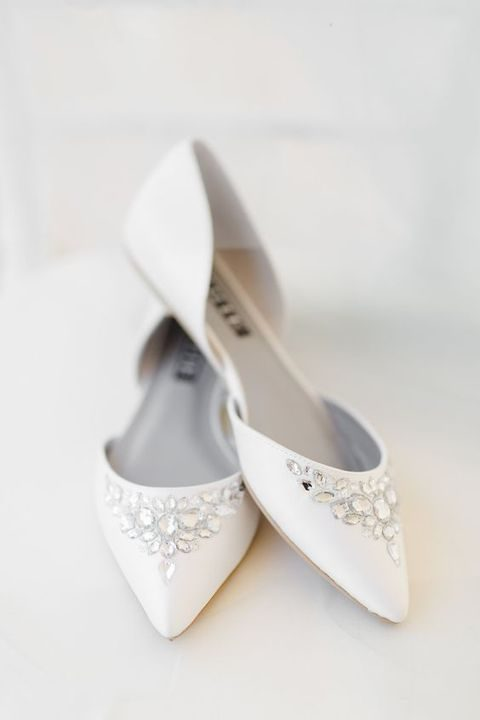 white wedding flats with sparkle jewels