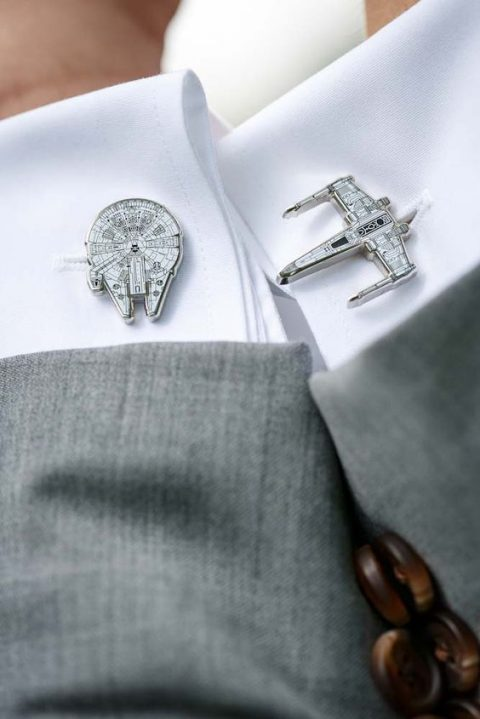 Star Wars inspired cufflinks are amazing for a themed wedding