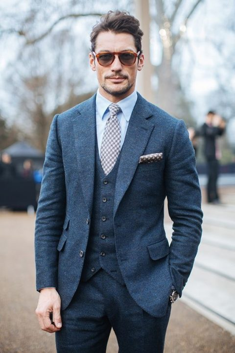 A Dark Grey Three Piece Wedding Suit With Printed Tie