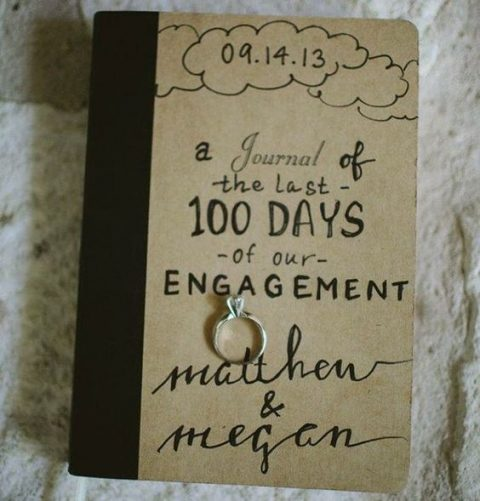 a journal with the last 100 days of engagement before the wedding