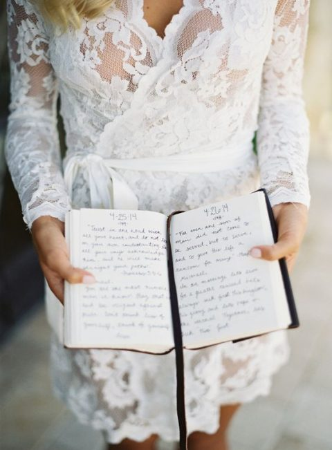 a love journal with letters from the bride