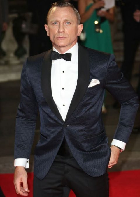 a midnight blue dinner jacket with matter black lapels and black pants