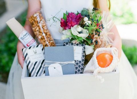 a simple open box can be used for a welcome bag