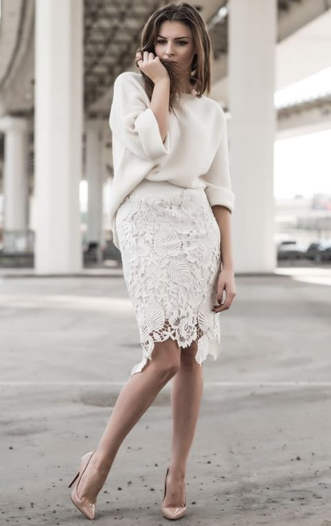 a white lace knee pencil skirt, an oversized white sweater and nude heels
