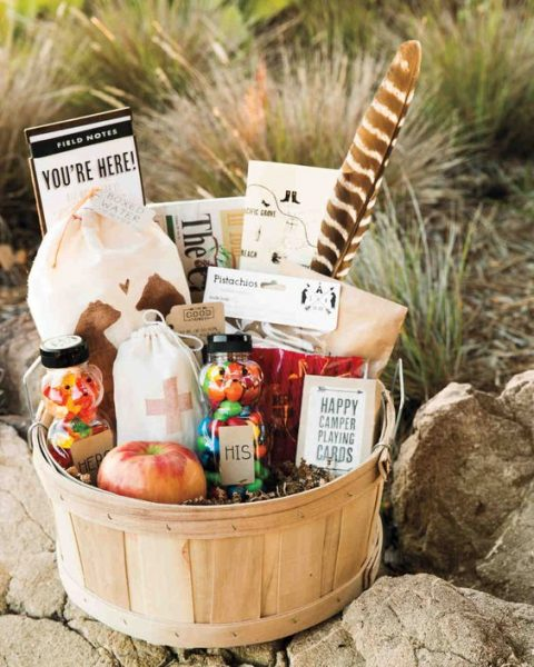 apples, candies, pistachios and other snacks will be great for a welcome bag