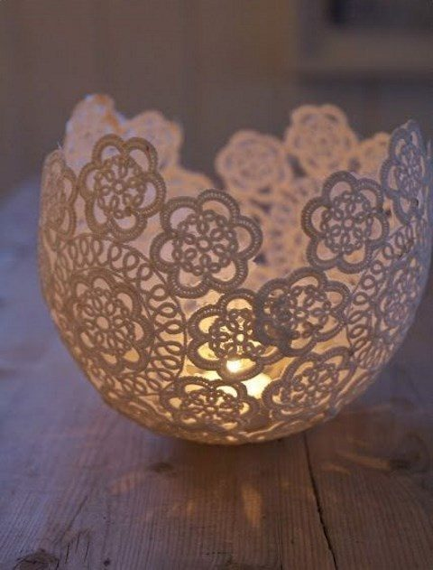 doily candle lantern for romantic wedidng decor