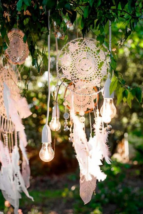 doily wedding dream catchers with feathers