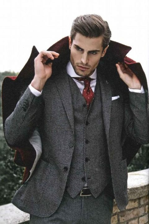 grey tweed three piece wedidng suit with a printed red tie