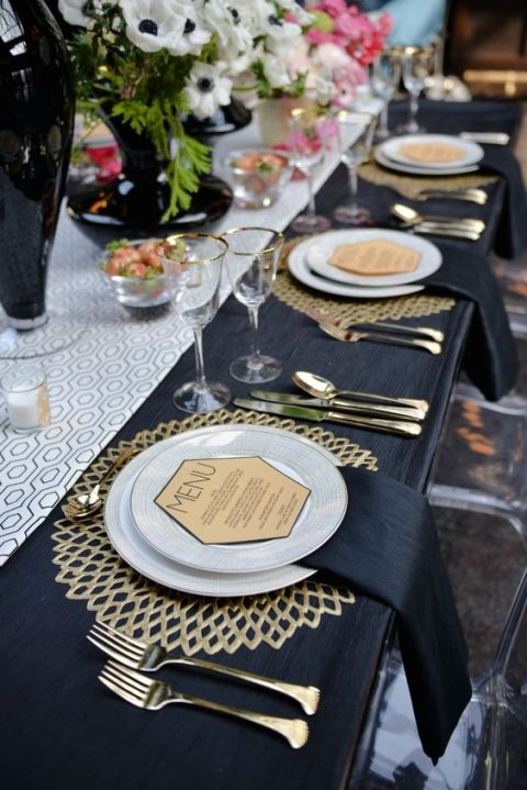 hexagon shaped menu for an art deco inspired tablescape