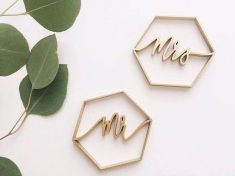 laser cut wood hexagon place cards painted copper
