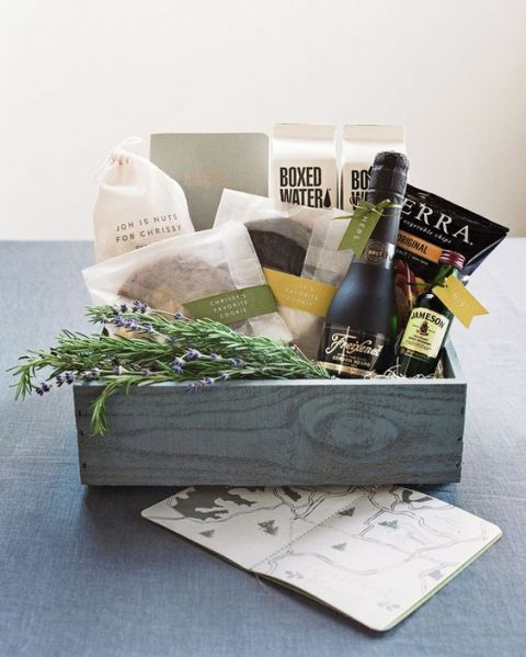 local wine or your favorite alcohol can be a nice drink idea for a welcome bag