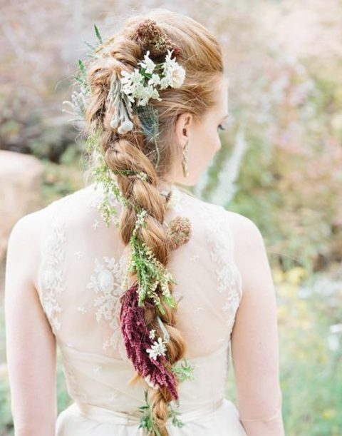 long braid with greenery and fall flowers