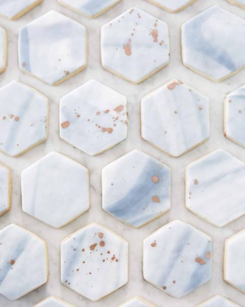 marble hex cookies with copper splashes