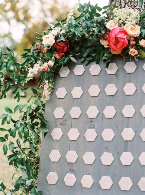 marble hexagon seating cards with copper calligraphy