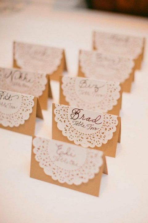 paper doily and cardboard seating cards