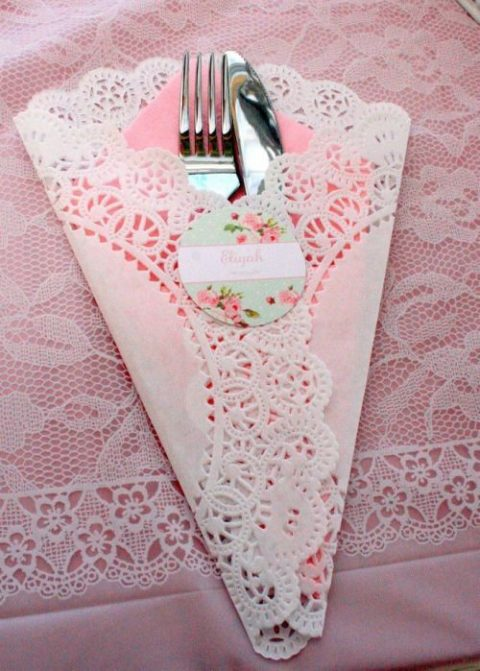 paper doily cutlery wrap with a floral sticker