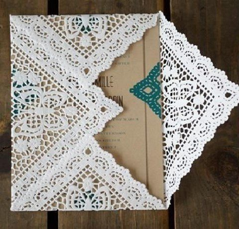 paper doily invitation envelope for a boho wedding