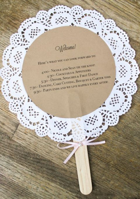 paper doily wedding program