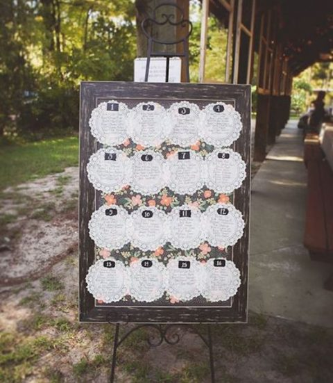 paper doily wedding seating chart