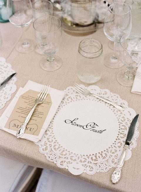 place card paper doily for a wedding table setting