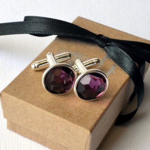 purple gem cufflinks for a geode and crystal-inspired wedding