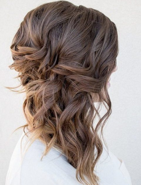 sided wavy half updo