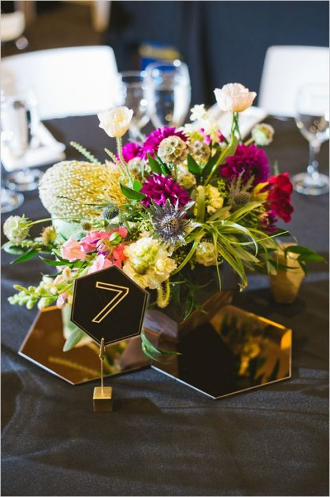 smoked glass hexagons and a hex table number for the wedding centerpiece