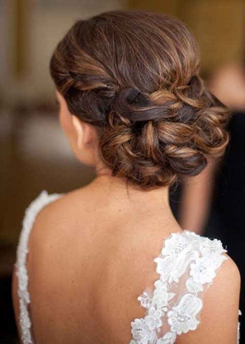 twisted and braided wedding updo