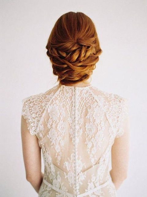 twisted wedding low updo