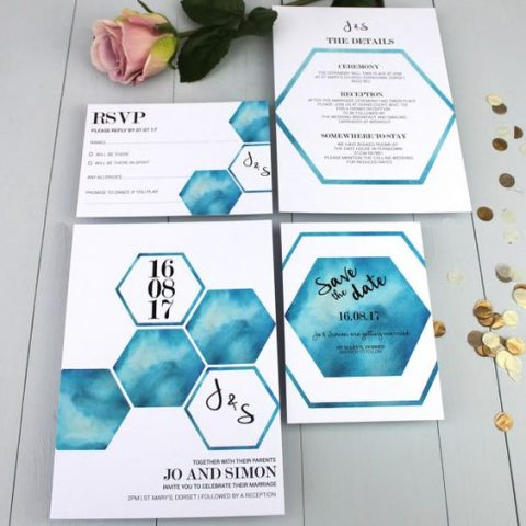 watercolor blue hexagon wedding stationary