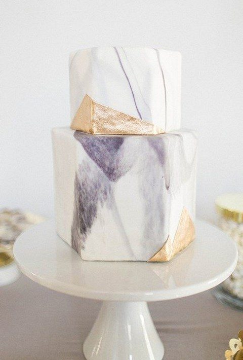 watercolor purple hexagon shaped wedding cake with gold leaf decor
