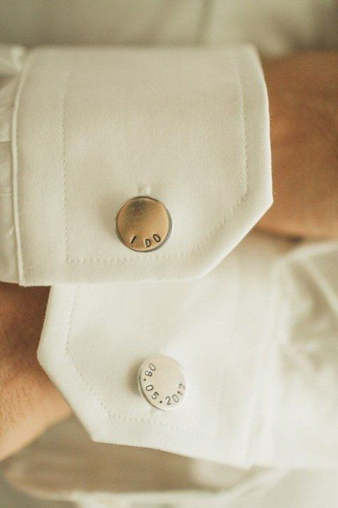 wedding cufflinks with a date and I DO words