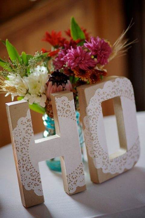 wedding monogram letters with paper doily decor