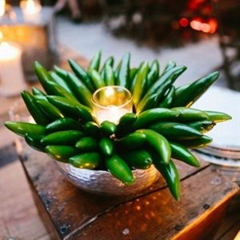 a hot pepper centerpiece with a candle is easy to make