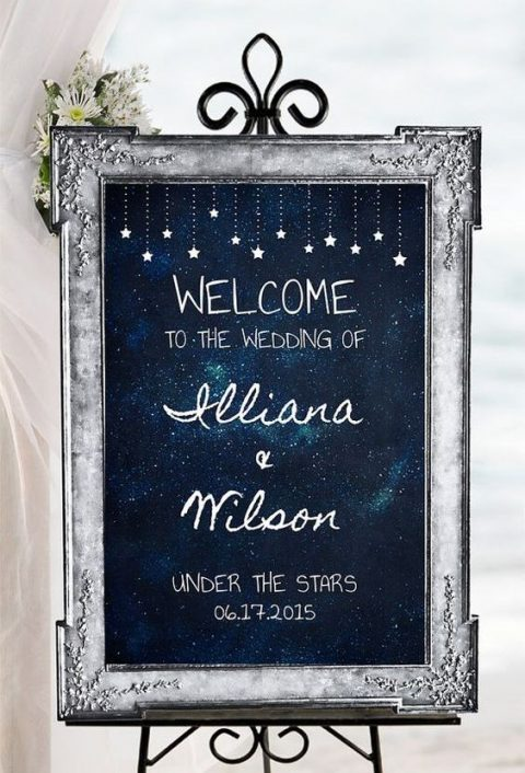 a navy and star wedding sign in a refined silver frame