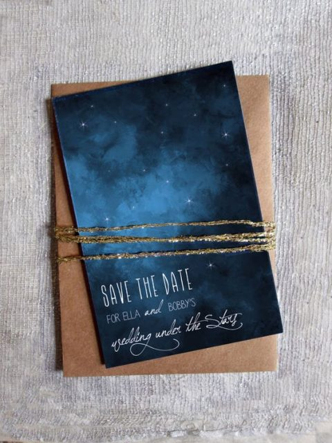 a starry night wedding save the date and a copper envelope