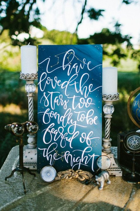 a watercolro blue and navy wedding sign with candles and a globe
