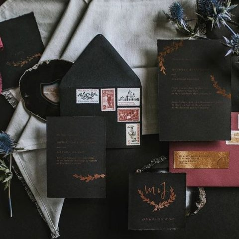 black and copper wedding invites for a fall wedding