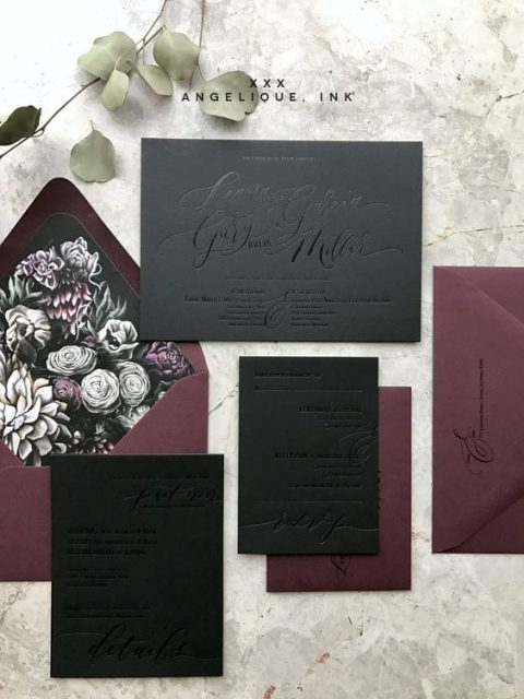 black and plum wedding stationery with floral lining and pressed calligraphy