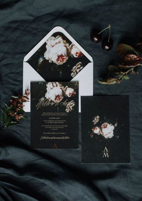 black and white wedding stationery with realistic floral lining