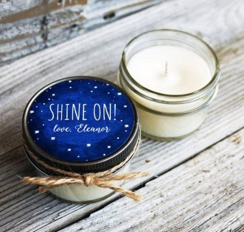candle wedding favors with starry night lids