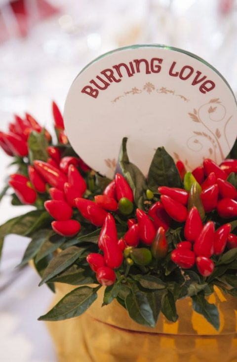 chilli pepper centerpiece to show the burning love