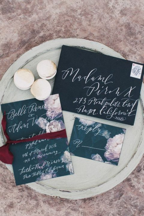 dark grey and black wedidng invites with white calligraphy and watercolor flowers
