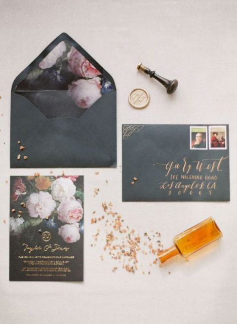 dark stationery with realistic floral lining and accents